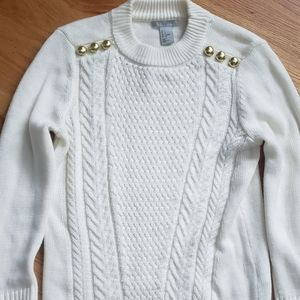 White H&M thick cable cozy sweater small s